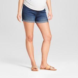 Maternity Crossover Panel Midi Jean Shorts  #61-34